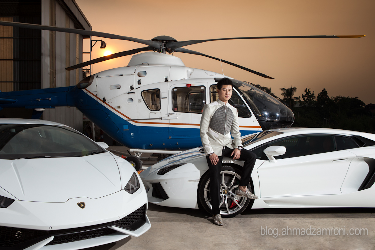 Johnson Yaptonaga, 35 CEO of Lamborghini Jakarta with his Lamborghini Huracan 610-4 and Lamborghini Aventador 700-4