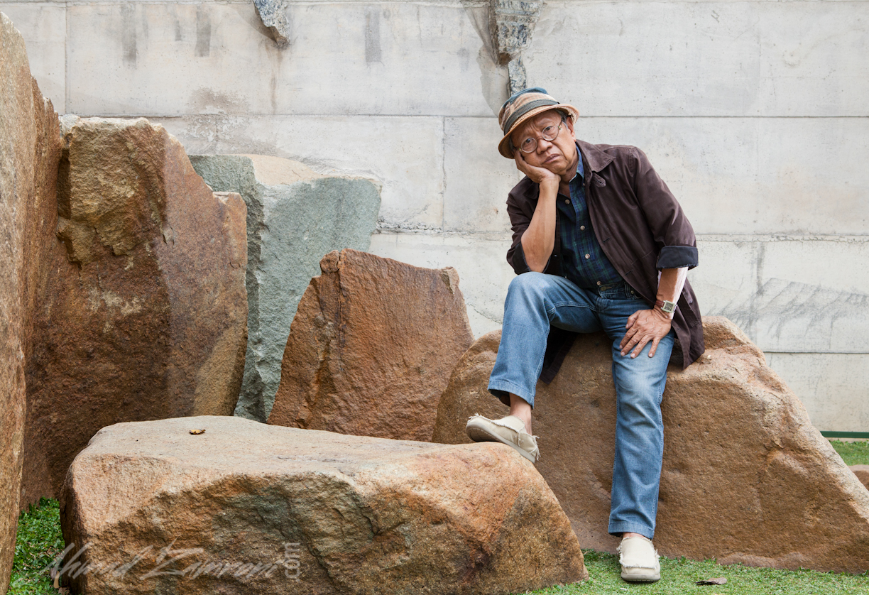 Artist Sunaryo and the Wot Batu stone bridge in Bandung, Indonesia. Photo by Ahmad Zamroni